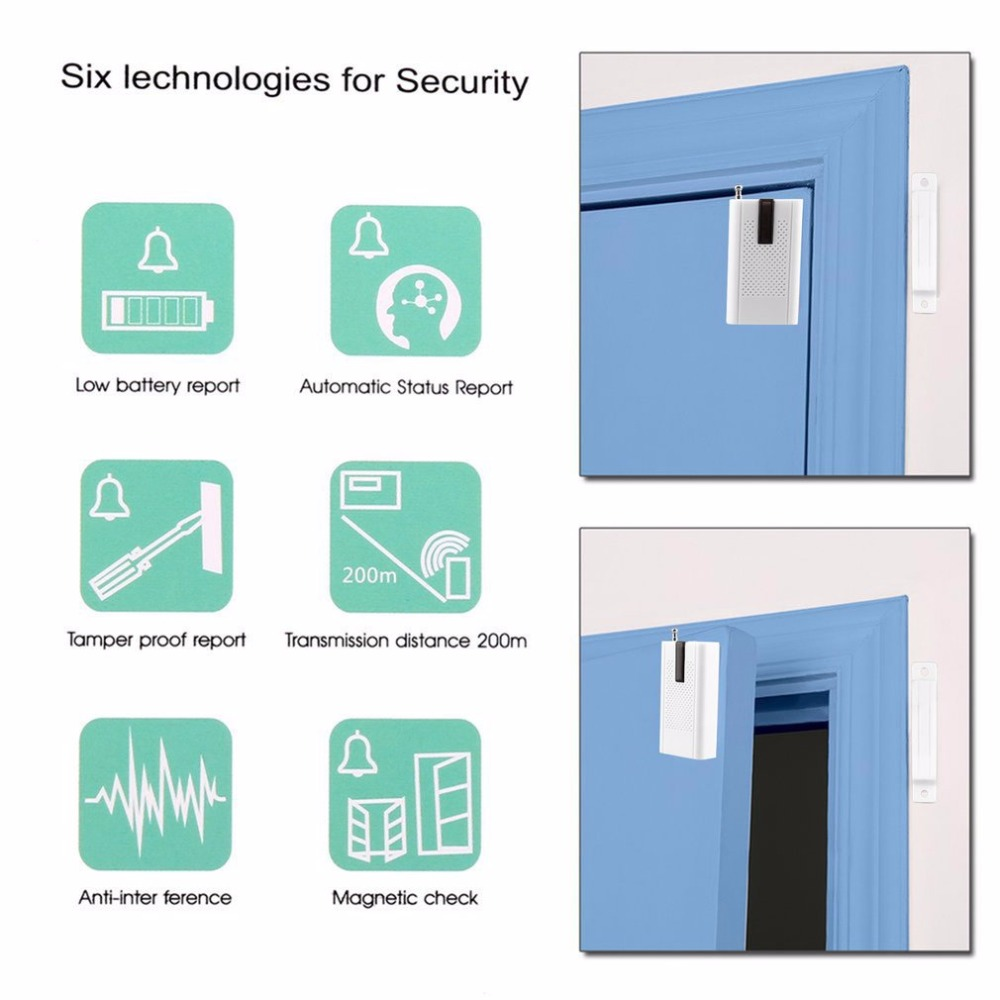 LESHP Wireless Door Magnetic Sensor Detector Alarm for 315/433MHz Home Security Emergency Help Ultra-low Power Microprocessor
