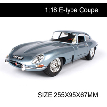 BBUAGO 1:18 diecast Car E-type Coupe Cabriolet Classic Cars Alloy Metal Vehicle Collectible Models toys For Gift