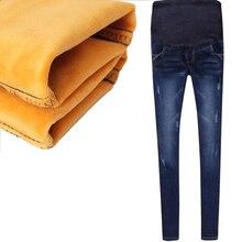 Загущенные бархат эластичный теплые пояс джинсы хлопка беременных женские зима из