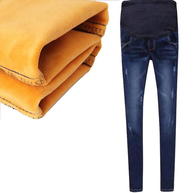 2016 Roupas de Maternidade roupas de Algodão Elástico Da Cintura Das Mulheres Calça Jeans Inverno engrossado Com Veludo Mulheres Grávidas Calças Calças Quentes