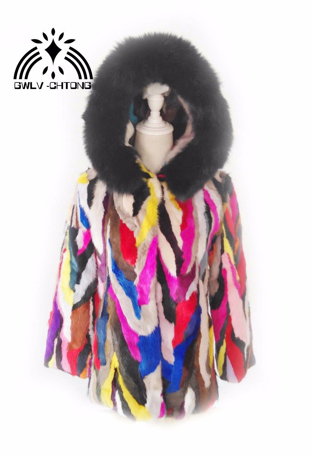 Manteau Mode Coloré De Vison Fourrure Real Capot Nouveau Femmes allumette Renard Tout Multi Naturel couleur Avec Veste Véritable wEqYnEPa