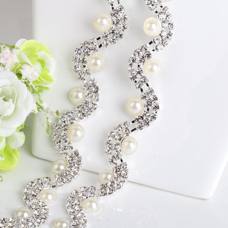 NEW 1Yard Clear Crystal Pearl Rhinestone Cup Chain Bridal Wedding Dress  Decoration Trim Applique Sew on Garment Accessories-in Rhinestones from  Home ... 46b6dfb94f53