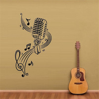 Mur de Vinyle Autocollant Stickers Mural Chambre Conception MICROPHONE Musique Notes Cheveux bar Stickers Muraux décor à la maison diy affiche papier