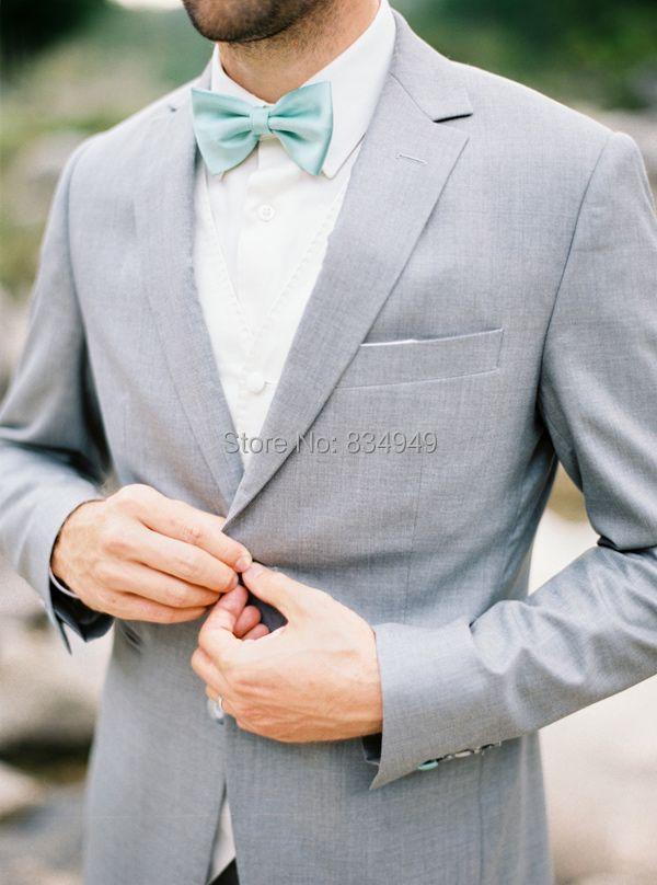 Свадебные костюмы для мужчин светло серый на заказ, на заказ пепельно серый костюм для мужчин, 2 кнопки лацкан с тупым углом Мужской бледно с