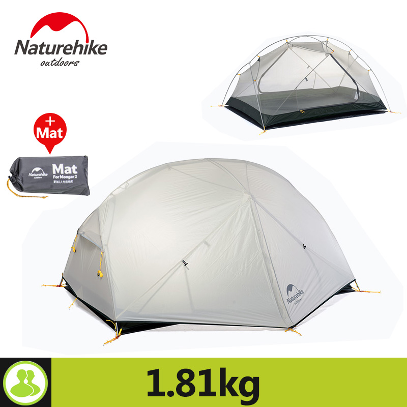 Naturehike 2 Person Camping Tent 3 Colors 20D Silicone Fabric Double Layers Rainproof 3 Season Ultralight Outdoor Tent 995g camping inner tent ultralight 3 4 person outdoor 20d nylon sides silicon coating rodless pyramid large tent campin 3 season