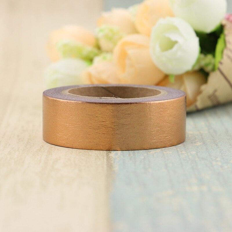 Купить с кэшбэком 1X copper Foil Washi Tape Paper 1.5cm*10m Kawaii Scrapbooking Tools Masking Tape Metallic Christmas Diy Decorative Tapes