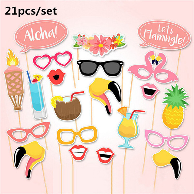 Summer Flamingo Pineapple Photo Booth Prop Team Bride Photobooth Wedding Decoration Bridal Shower Bachelorette Party Supply
