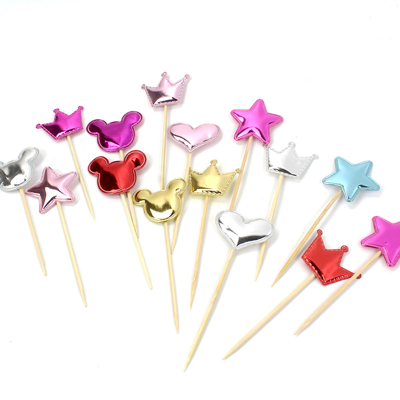 100pcs/lo cupcake toppers mickey/minnie birthday party decorations kids girl heart/star/crown topper cake  baby shower supplies