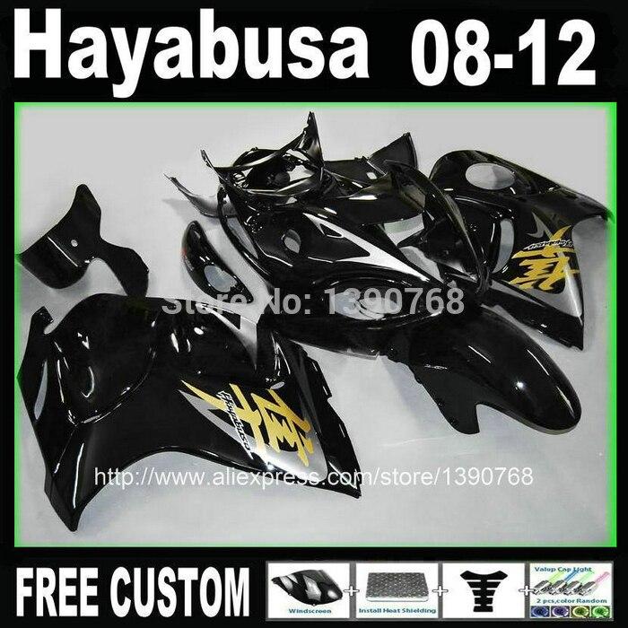 Injection mould kit carénage pour SUZUKI Hayabusa carénages GSXR1300 2008-2014 tous ensemble noir brillant 08-14 TX37