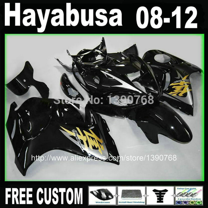 Injection mould kit carénage pour SUZUKI Hayabusa carénages GSXR1300 2008-2014 tous ensemble noir brillant 08-14 TX37