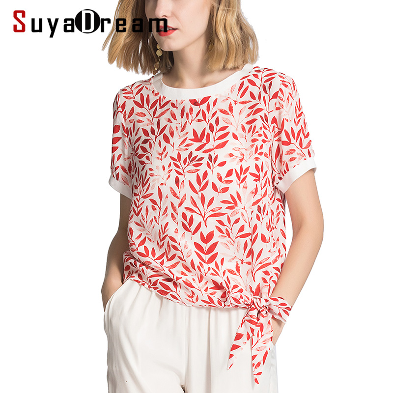 Femmes T Shirt 100% réel soie crêpe imprimé chemise à manches courtes 2019 printemps été imprimé t-shirt pour les femmes