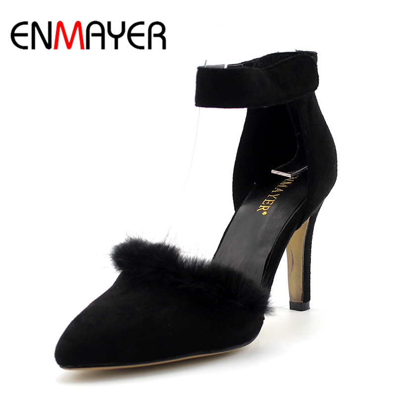 ENMAYER Fur Charms Shoes Woman High Heels Poined Toe Classic Black Office&Career Shoes Buckle Strap Office Lady Shoe Plus Size47 new stylish designer lady high heels shoes pointed toe concise slip on office career shoes woman string metal bead shoe edge