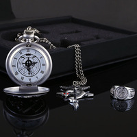 3PCS Anime Action Toy FULLMETAL ALCHEMIST Quartz With Necklace Ring Pocket Watch Dial Round Watch Coser