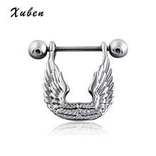 Trendy U Shape 2 PCS/LOT Hot Sale full crystal Angel Wings Body Piercing Ring Stainless Steel Nipple Barbell
