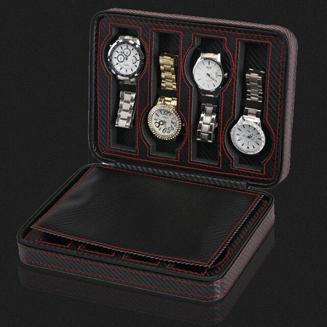 2/4/8 Slot Portable en Fiber de carbone en cuir montre Zipper sac de rangement voyage bijoux montre boîte sac Case cadeau de luxe personnalisé