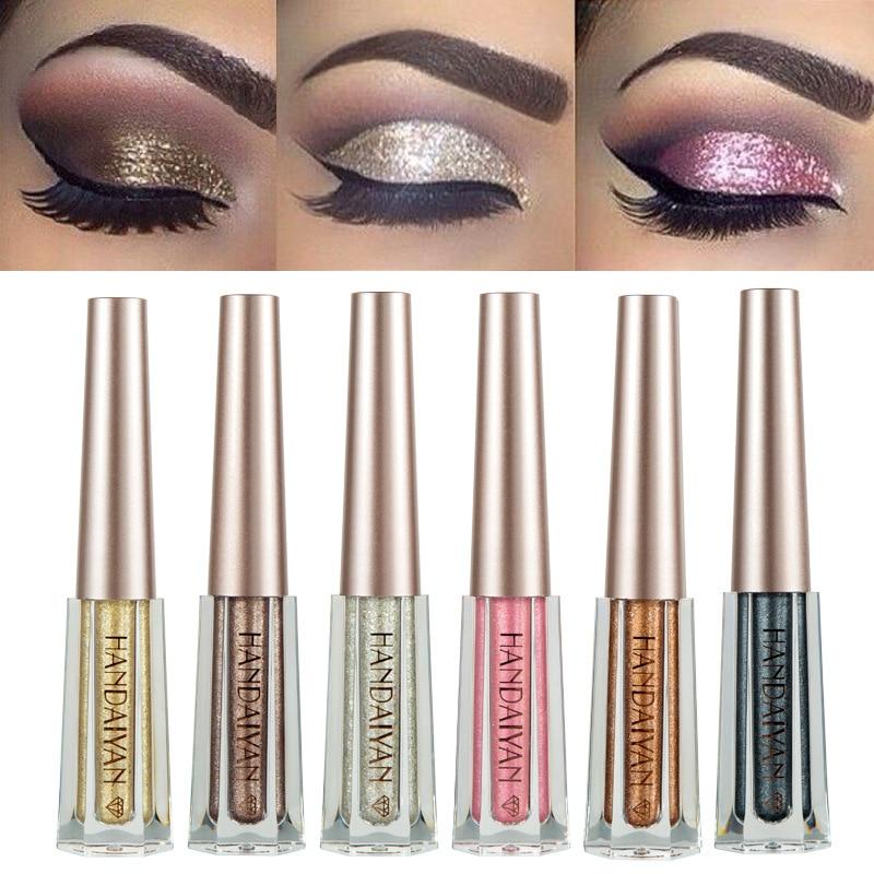 HANDAIYAN 2018 New Glitter Diamond Liquid Eyeshadow Makeup Waterproof Long Lasting Shimmer Metallic EyeShadow Liner Combination