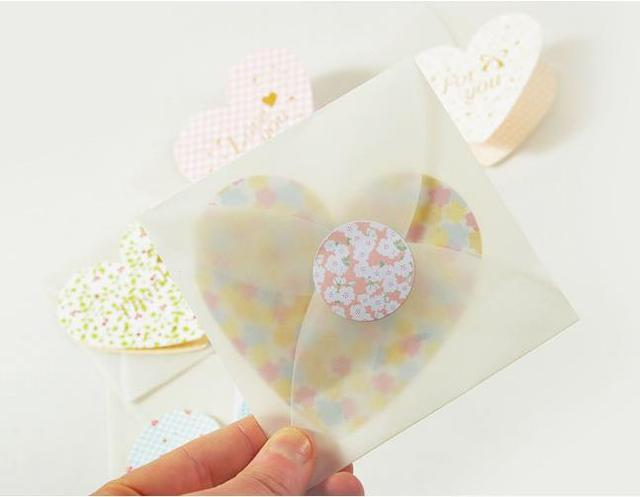 20pcs heart wedding guest invitation card with envelope folding 20pcs heart wedding guest invitation card with envelope folding type write paper birthday party cute mini bookmarktalkfo Images
