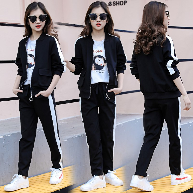 Kids Clothes Set Fashion Teen Girls Tracksuits Spring 2pcs Children Sport Suits 8 10 <font><b>12</b></font> <font><b>16</b></font> year Girls Clothes Size <font><b>12</b></font> and 14 image