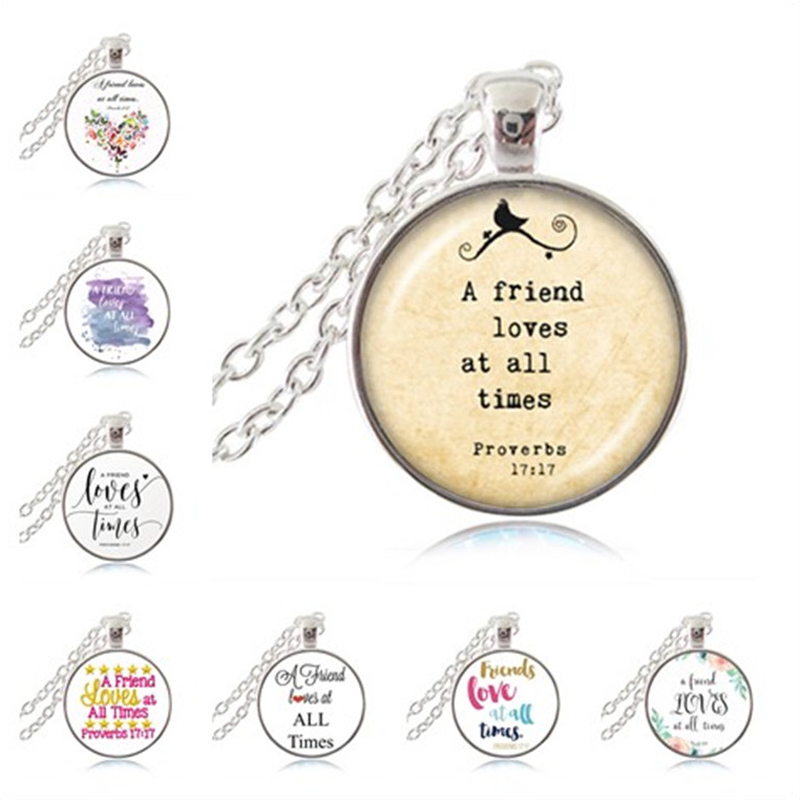 Proverbs 17:17 A Friend Loves at All Times Necklace Bible Verse Pendant Friendship Quotes Jewelry Christian Scripture Sweater image