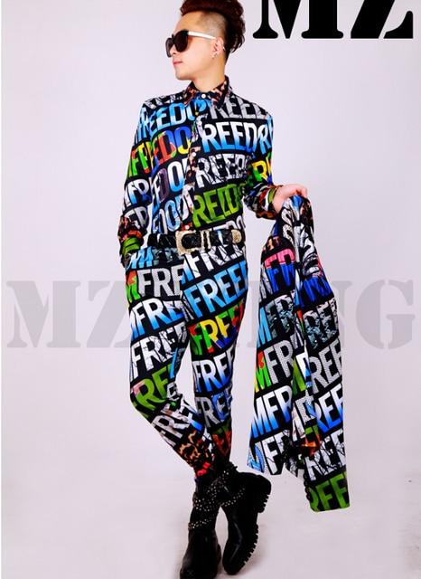 S-4XL ! Men's singer male guests nightclub DJ catwalk models suit color 3D rendering letters costumes clothing formal dress