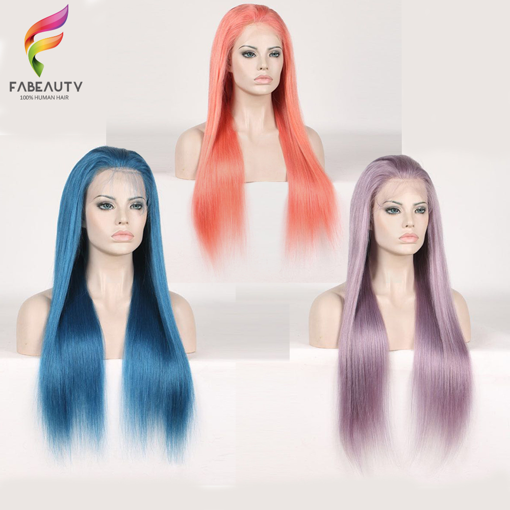 Colorful Lace Frontal Wigs Brazilian Straight Lace Front Human Hair Wigs Pre Plucked with baby hair
