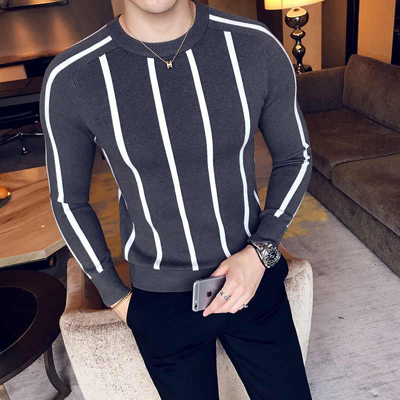 2017 Autumn And Winter New Pattern Handsome Classic Pullover Round Neck Man Stripe Knitting Sweater Fashion Trend Cardigan