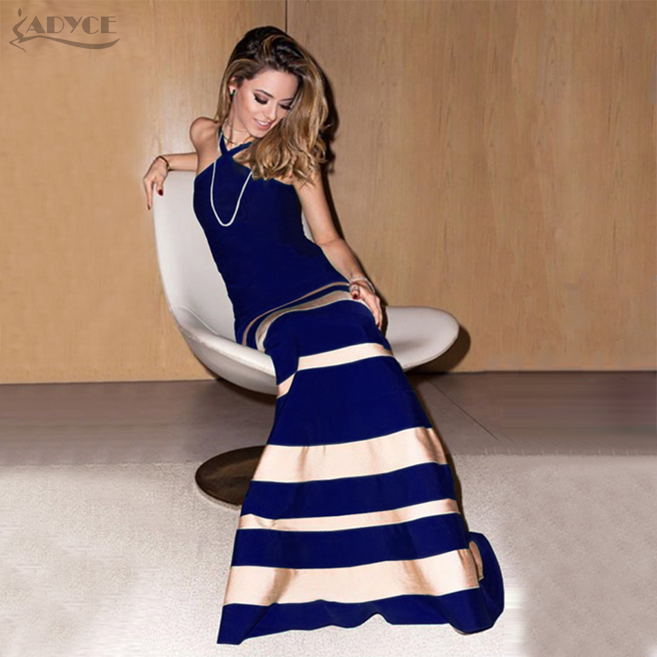 Adyce 2019 New Arrival Woman Bandage Dresses Chic Sexy Sleeveless Strapless Spaghetti Striped Celebrity Party Dress