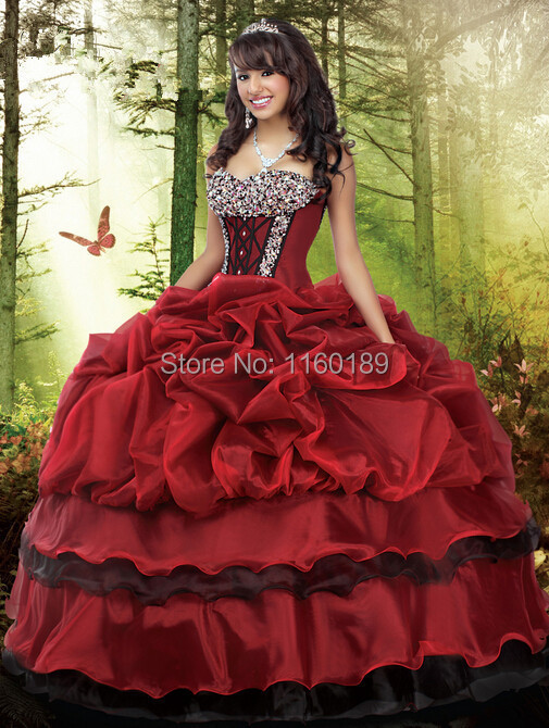 Online Shop Free shipping red black crystal beading quinceanera ...