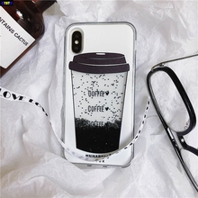 Cyato Cool Liquid Quicksand Coffee Cup case For iPhone X 10 Fashion Silicone case Cover For iPhone 8 Plus 7 Plus 6 6S Plus capa for iphone x 6 6s 7 8 plus case fashion girl chat page coffee cup liquid quicksand silicone cover for iphone 8 plus phone bag