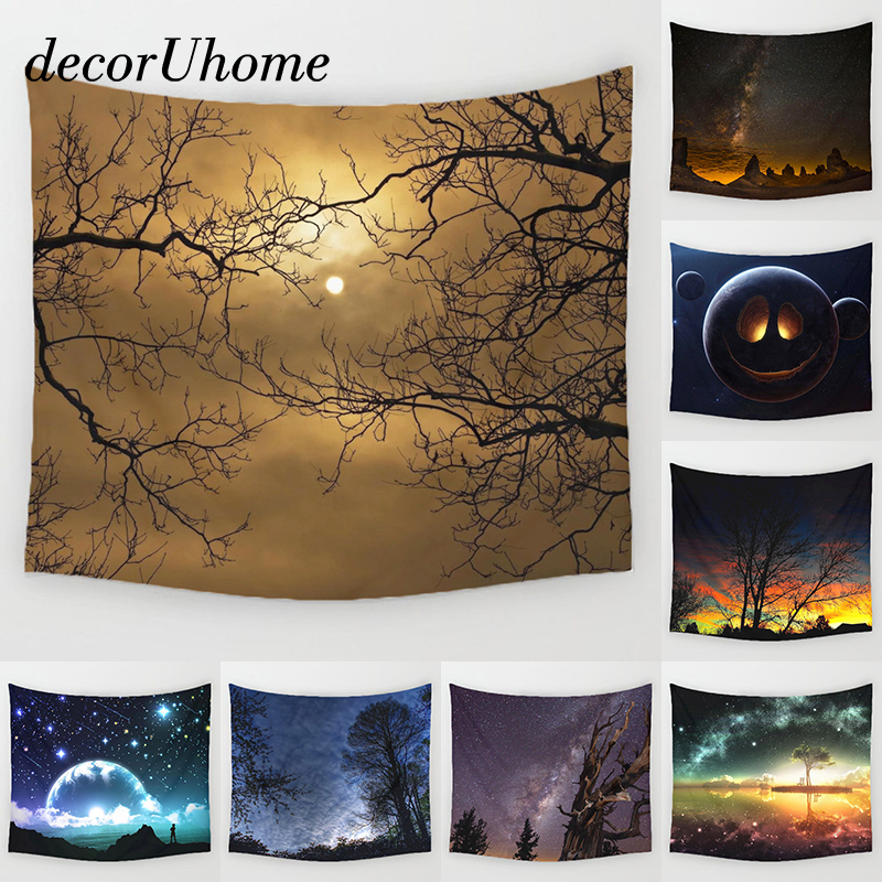 DecorUhome Night Scenic Tapestry Wall Hanging Decor Star Plant Printed Carpet Home Decor Hanging Living Printing Wall Tapestry