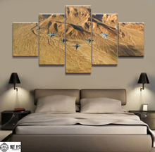 Hot Sales Without Frame 5 Panels Picture Sky Fighter Canvas Print Painting Artwork Wall Art Wholesale