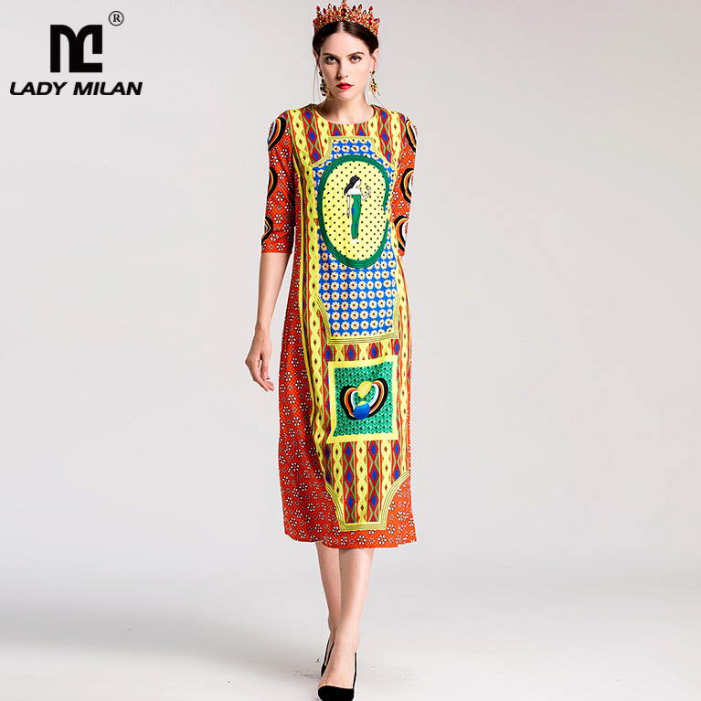 New Arrival Womens O Neck Half Sleeves Printed High Street Fashion Causal Mid Calf Dresses