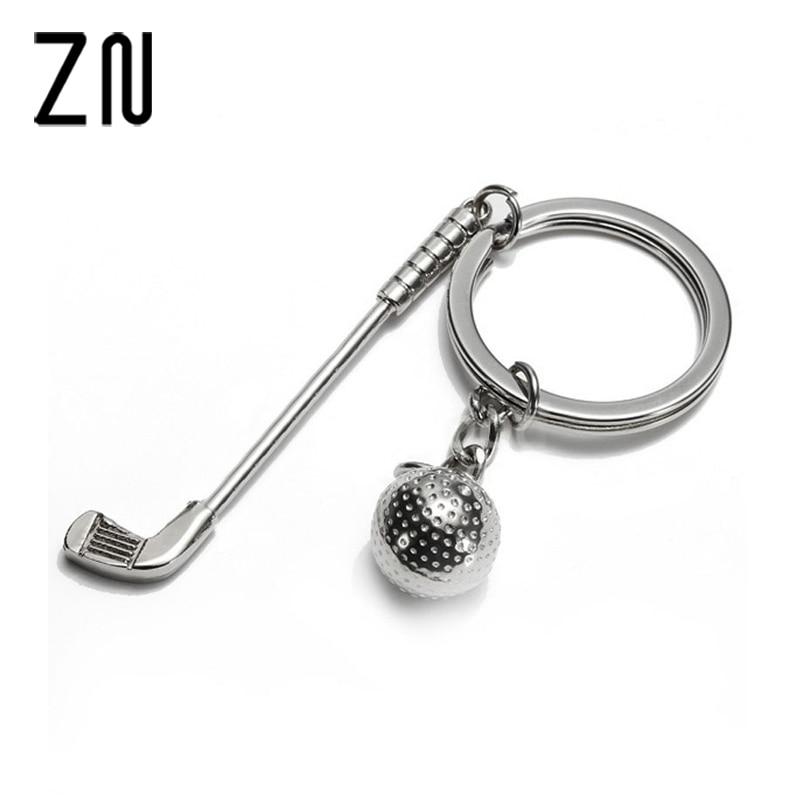 ZN Stylish Beautiful Style Alloy Silver Golf Club Ball Key Ring Fob Key Chain Craft Gift