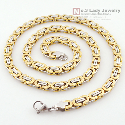 Necklace Flat byzantine design fashion for men 6mm width chain 316l stainless steel mans jewelry free shipping WN191