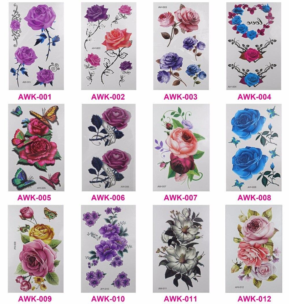 12 Unids/lote mujeres 3D tatuaje de Flores tatuaje temporal tatuajes transferibl