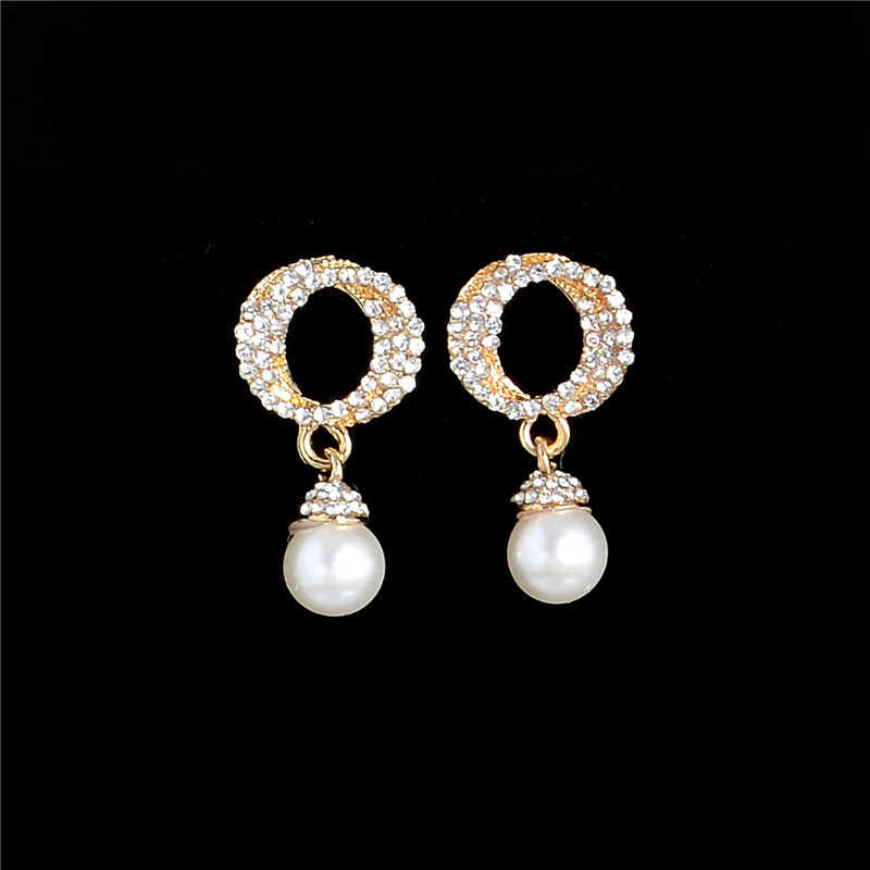 New Arrival Simulated Pearl Jewelry Set Gold Filled Australia Crystal Earring Pendant Necklace Statement Gift Wholesale