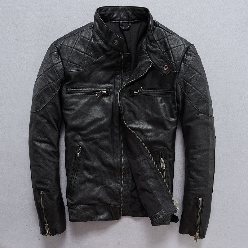 2018 Black Men Genuine Bikers Leather Jacket Plus Size XXXL Thick Cowhide Slim Fit Short Motorcycle Leather Coat FREE SHIPPING