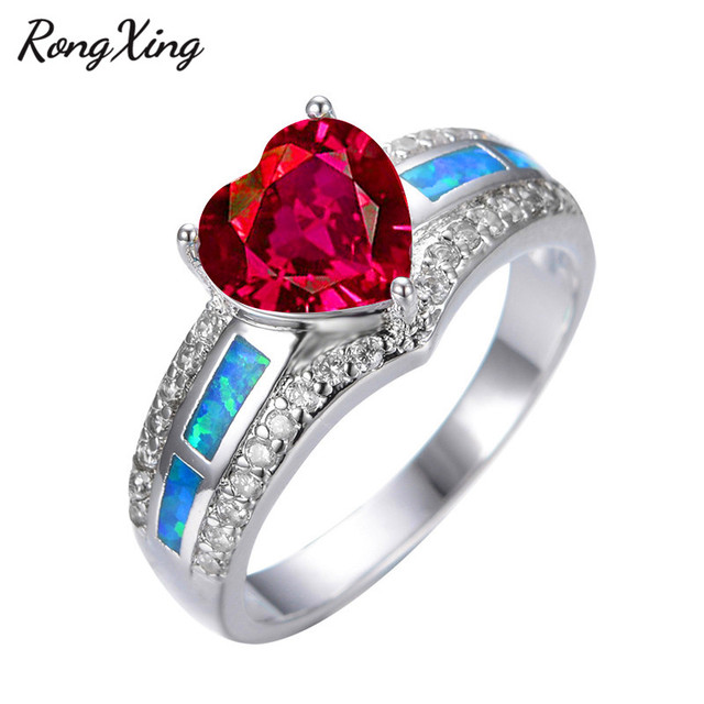 553e52dd4333ae RongXing Rose Red Heart Zircon Blue Fire Opal Rings For Women Vintage White  Gold Filled Birthstone Rings Fashion Jewelry RP0040