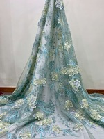 luxury 3D flower pearls embroidery lace tulle african fabric for Wedding bridal dress