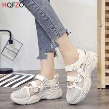HQFZO Breathable Hollow Summer Women Sneakers Hook Tenis Plataforma Wom