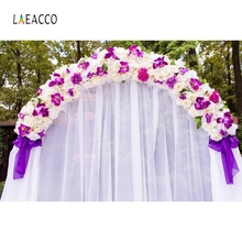 Laeacco Flower Arch Door Curtain Wedding Party Photography Background Customized Bridal Photographic Backdrops For Photo Studio 100% hand painted pro dyed muslin backdrops for photography studio customized photographic background wedding backdrops 10x10ft