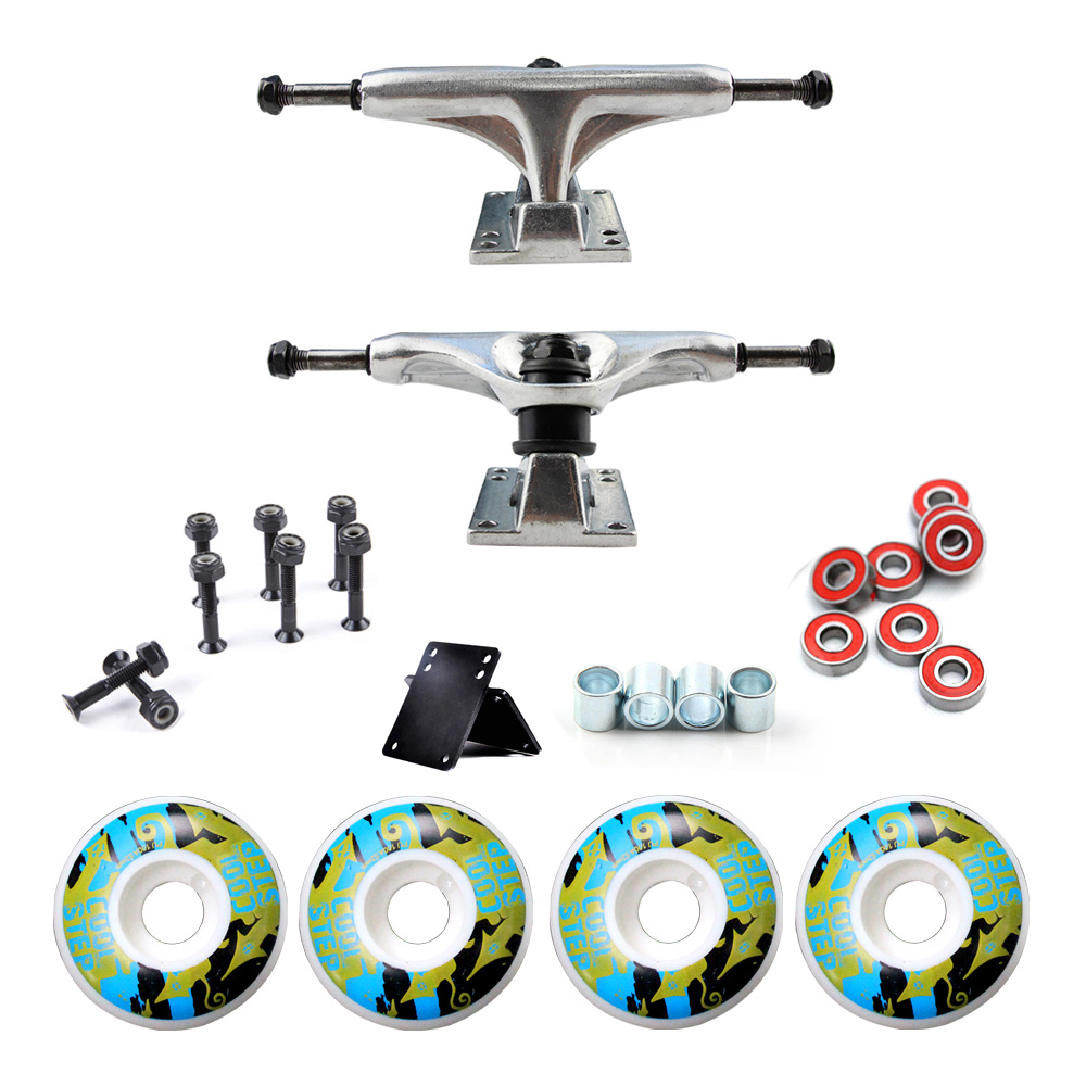 New Arrival Skateboard Wheels And 5inch Truck Bearings Hard Wares Rubber Gasket Riserpad 100A Printing With PU Wheels 52mm*30mm