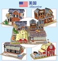 3D Puzzle Model Toys American Buildings Holiday Villa/The Western Bar/Farm/Noshery DIY Assembly 3D Puzzle Model Toy For Gift