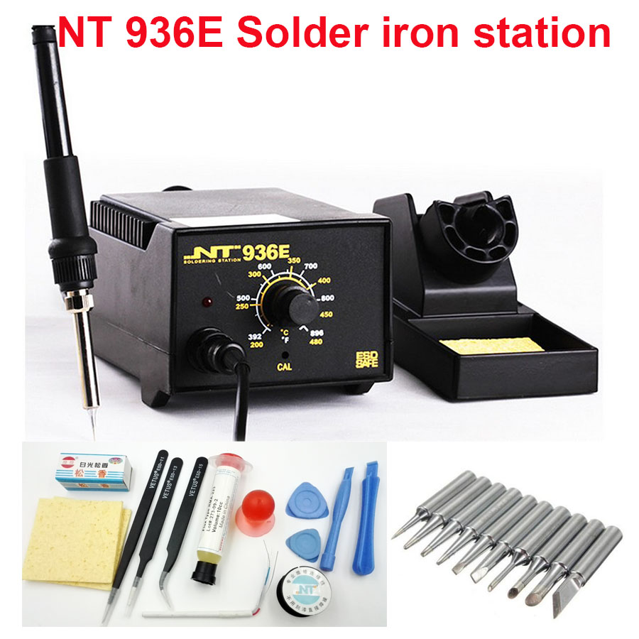 NT 936E Adjustable soldering solder iron station Electric +phone open pry repair tools set  +solder iron tips bit lead +tin wire 936 soldering station 220v 60 65w electric soldering iron for solder adjustable machine make seals tin wire solder tip