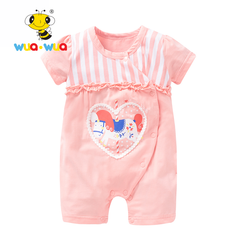 Baby girl boy Romper Summer jumpsuit Clothing kids baby short Sleeve Cotton Newborn Clothes o-neck Sweet heart Wua wua SS16703 2017 cute newborn baby girl romper clothes summer sleeveless floral lace jumpsuit outfits toddler kids sunsuit clothing