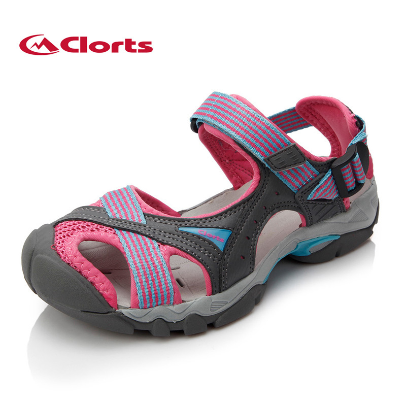 2017 Clorts Womens Sports Sandals Summer Outdoor Beach Shoes Breathable Aqua Shoes PU Upper For Female Free Shipping SD-202C summer children shoes child sports sandals female male child sandals black gauze sandals
