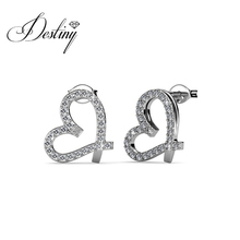 Destiny Jewellry sweet heart earring hot sell 2017 embellished with crystal from Swarovski DE0366(China)