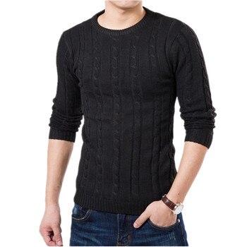 Pure Color Pullover Mens Sweater Winter