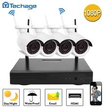 Kit de Vigilancia 4CH 1080 P NVR Inalámbrica Techage 2.0MP Wifi Cámara IP P2P Nube Onvif HDMI Grabador de Vídeo de Seguridad CCTV sistema