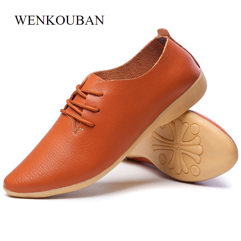 Size 35-44 Leather Shoes Women Flats Pointed Toe Oxford Shoes Lace Up Moccasins Summer Flat White Black Oxfords Rubber Sole foreada genuine leather shoes women flats round toe lace up oxfords shoes real leather casual boat shoes brown pink size 34 40